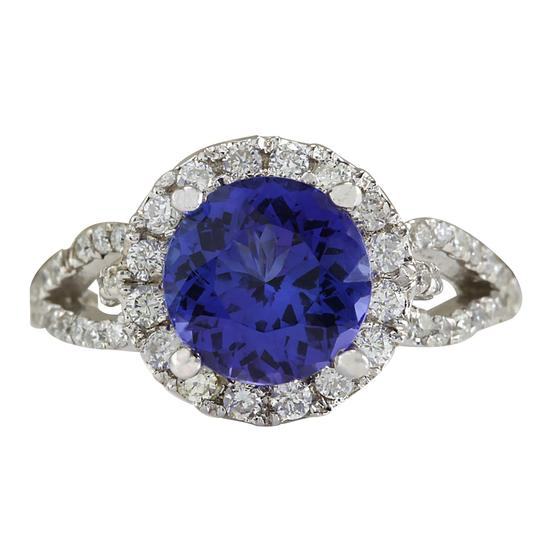 Preload https://img-static.tradesy.com/item/21200209/blue-349-carat-natural-tanzanite-14k-white-gold-diamond-ring-0-0-540-540.jpg