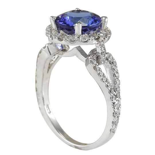 Fashion Strada 3.49 Carat Natural Tanzanite 14K White Gold Diamond Ring