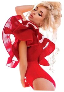 Other Ruffle Bodysuit Top Red & White