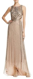 Adrianna Papell Taupe Beaded Cutout Gown Dress