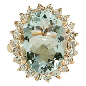 Fashion Strada 8.40CTW Natural Aquamarine And Diamond Ring In 14K Solid Rose Gold