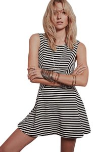 Free People short dress BLACK IVORY Cha Cha Drop Waist Striped Stretchy on Tradesy