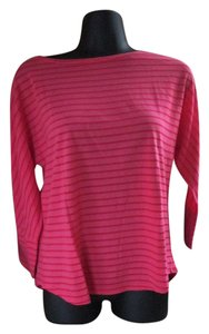 Chico's Striped Summer Casual Knit Top Pink