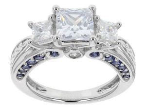 Elle Cross 3.75cttw Diamond & Tanzanite Simulants Pure Platinum Over Silver Ring