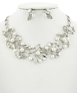 Other Clear Casting Rhinestone & Cream Synthetic Pearl Necklace & Earring Se