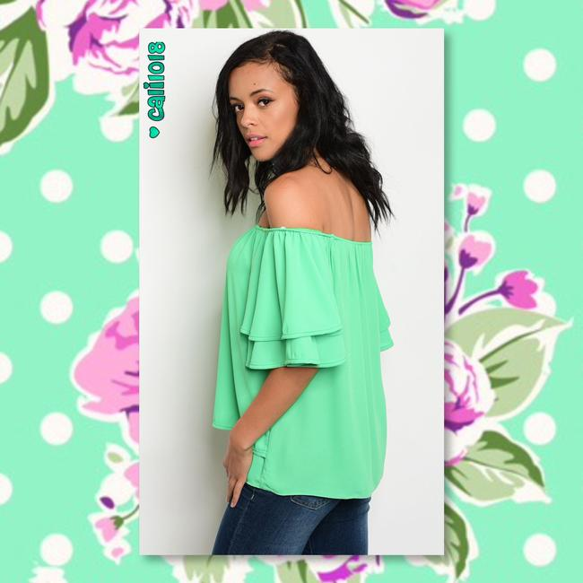 Other Off Shoulder Boho Chiffon Ruffle Choker Tunic