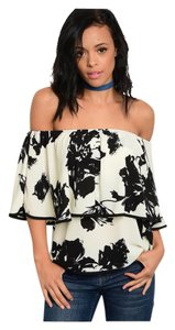 Other Off Shoulder Floral Chiffon Bohemian Bohemian Tunic