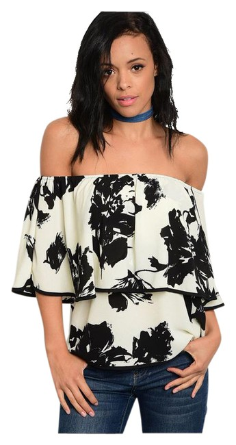 Preload https://img-static.tradesy.com/item/21200675/ivory-and-black-new-floral-off-shoulder-ruffle-tunic-size-8-m-0-1-650-650.jpg