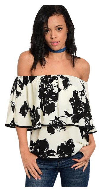 Preload https://img-static.tradesy.com/item/21200680/ivory-and-black-new-floral-off-shoulder-ruffle-tunic-size-4-s-0-1-650-650.jpg