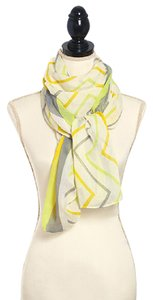 Other Yellow 100% Polyester Chevron Printed Oblong Scarf