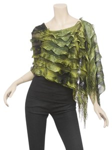 Other Olive & Green 100% Polyester Silk Feel Ombre Ruffle Poncho
