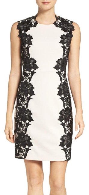Preload https://img-static.tradesy.com/item/21200967/betsey-johnson-almond-black-lace-two-tone-sheath-short-cocktail-dress-size-6-s-0-1-650-650.jpg