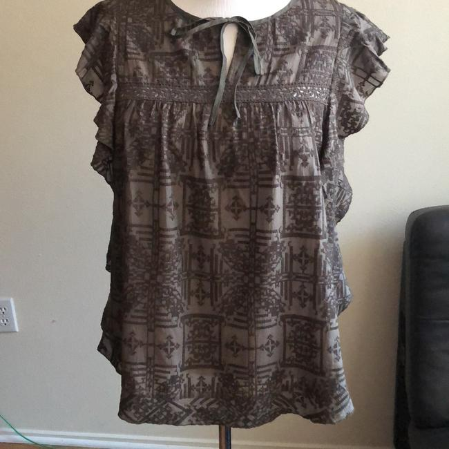Anthropologie Top Olive Green ruffled shoulders, embroidered