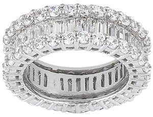Elle Cross 10.00CTTW BAGUETTE & ROUND PLATINUM OVER 925 STERLING ETERNITY BAND