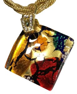 Murano murano signed pendant gold tone necklace
