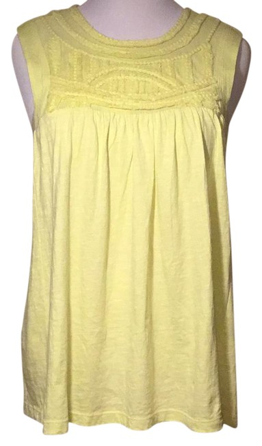 Preload https://img-static.tradesy.com/item/21201088/anthropologie-yellowgreen-cotton-tunic-embroiled-front-blouse-size-16-xl-plus-0x-0-1-650-650.jpg
