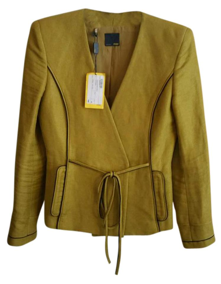 buy popular 07498 bf36f Fendi Mustard Giacca Double Breasted Crepe Blazer Size 2 (XS) 91% off retail
