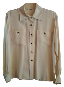 Saint Laurent Yves Rhinestone Buttons Vintage Ivory Silk Top Cream