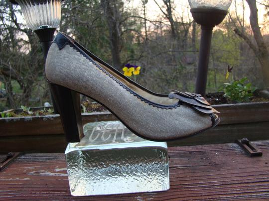 Taryn Rose Covered Leather Heel Fabric Stretchy Body GOLD GLITTER brown chocolate Pumps