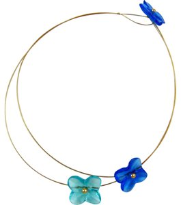 Baccarat Hortensia Trio Flower Necklace, 18K Gold and Blue Crystal