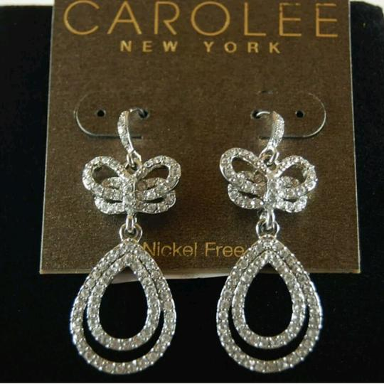 Carolee Silver tone pave crystal bow drop dangle earrings