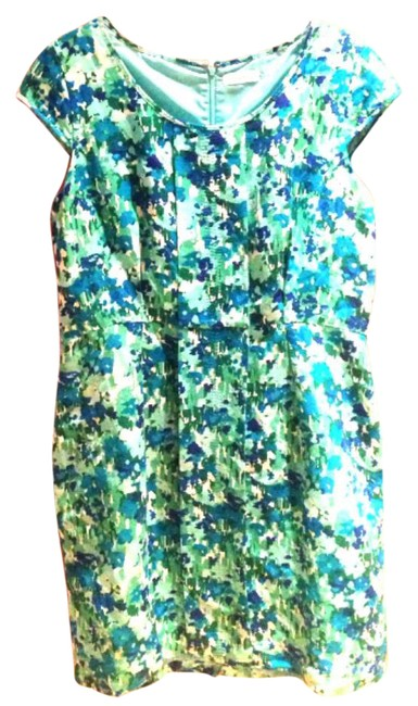 Preload https://img-static.tradesy.com/item/21201463/calvin-klein-turquoise-spring-floral-mid-length-short-casual-dress-size-12-l-0-1-650-650.jpg