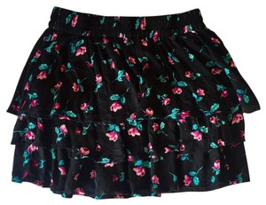 Forever 21 21 Ruffled Floral Mini Mini Skirt Black Floral