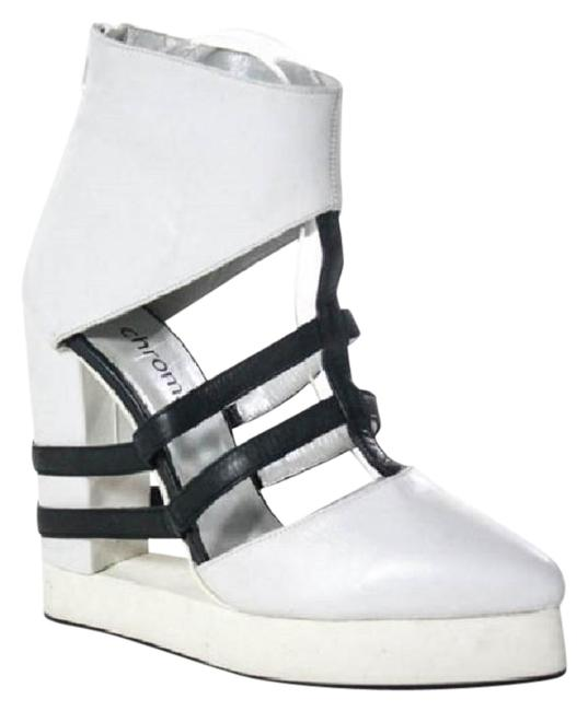 Item - White Black Leather Pointed Toe Ankle Boots Platforms Size US 7 Regular (M, B)