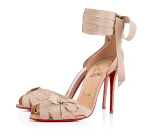 Christian Louboutin Christeriva 100mm Lace Up Beige Sandals