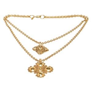 Chanel Chanel Gold Link Double Cross Design Pendant Necklace