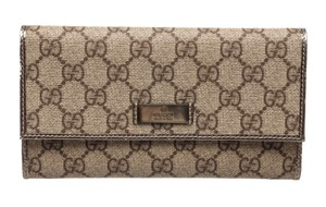 Gucci Gucci Beige Metallic Gold Coated Canvas Monogram Long Wallet