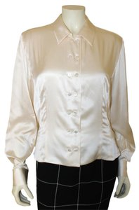 Carlisle Silk Button Down Shirt Peach