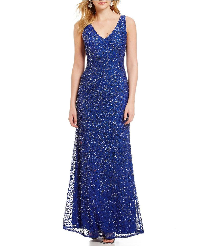 Adrianna Papell Neptune Blue Sleeveless Beaded Mermaid with Cut Out ...