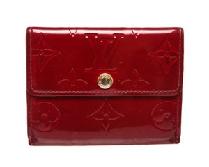 Louis Vuitton Louis Vuitton Burgundy Red Vernis Leather Cardholder Wallet