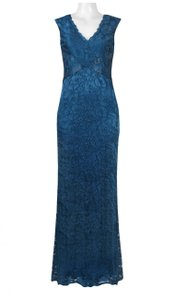 Adrianna Papell Beaded Gown Sleeveless Scalloped Dress