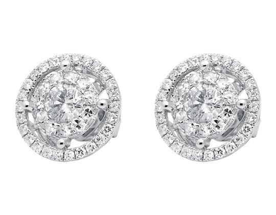 Other Double Halo Solitaire Accent Genuine Diamond Stud Earrings 2.0ct