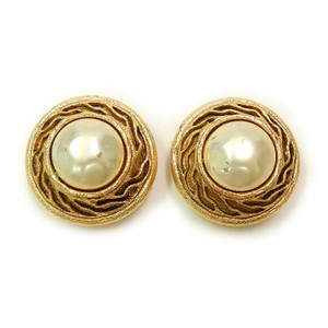 Chanel CHANEL Gold Plated CC Imitation Pearl Vintage Earrings
