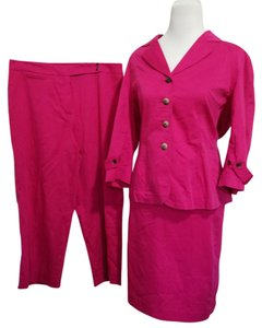 Anne Klein ANNE KLEIN 12 14 Suit NEW Skirt Blazer Crop Pants Solid Hot Pink Three