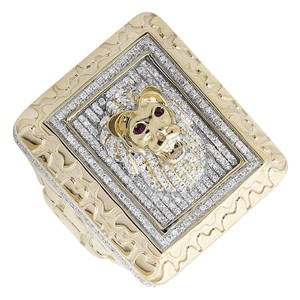 Other 3D Lion XL Rectangle Nugget Frame Genuine Diamond Ring 1.50ct
