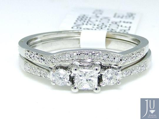 Other Round Cut Engagement Bridal Solitaire Diamond Ring Set 0.37 Ct