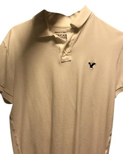American Eagle Outfitters Gray Polo Polo Preppy Ralph Lauren Top White