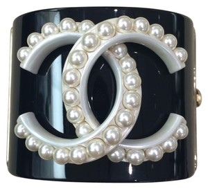 Chanel BN Chanel Black Resin Cuff with Pears