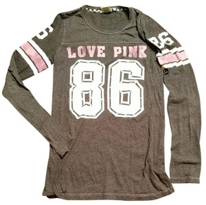 PINK Long Sleeve Size M T Shirt Black/grey with pink and ever studs