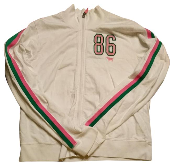 Preload https://img-static.tradesy.com/item/21202176/pink-white-and-green-zip-up-sweatersweatshirt-activewear-top-size-8-m-0-1-650-650.jpg