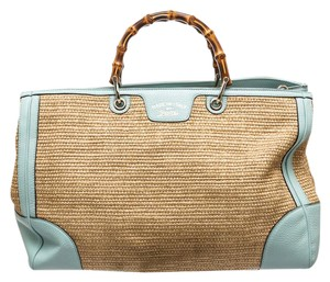 Gucci Satchel in Tan and Teal Green