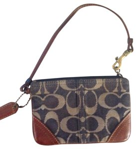 Coach Wristlet in blue and gold
