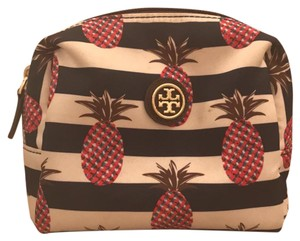 Tory Burch Printed nylon pineapple stripe cosmetic case
