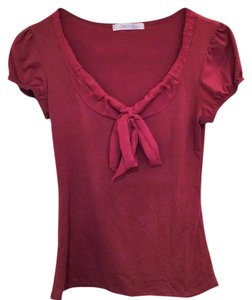 Charlotte Russe Shirt Bow Orange Top Burnt Orange