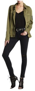Hudson Skinny Straight Leather Suede Skinny Jeans