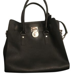 Michael Kors Gold Hardware Saffiano Leather Large Mk Tote in Black/Silver Hardware